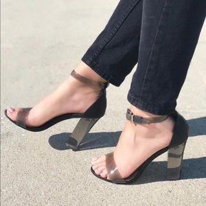 BLACK Lucite Transparent Chunky Block Heel Sandal